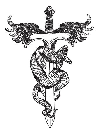 Handzeichnung Tattoo Schlange und Schwert mit Strichzeichnungen isoliert auf weißem Hintergrund.