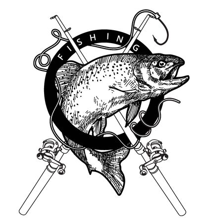 dessin à la main de pêche et croquis en noir et blanc avec illustration d'art en ligne isolé sur fond blanc.