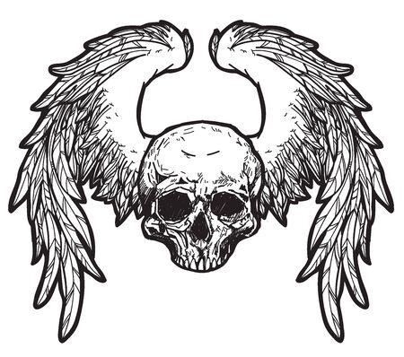Arte del tatuaggio Teschio e ali disegno a mano e schizzo in bianco e nero con illustrazione di arte di linea isolato su priorità bassa bianca.