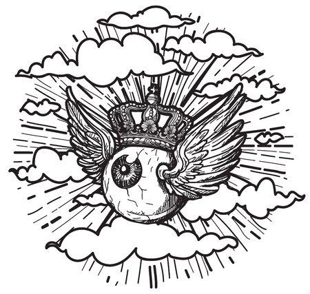 Arte del tatuaggio gli occhi hanno le ali che volano nel cielo. disegno a mano e schizzo con illustrazione di arte di linea isolato su priorità bassa bianca.