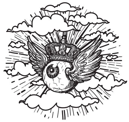 L'art du tatouage les yeux ont des ailes volant dans le ciel. dessin à la main et croquis avec illustration d'art en ligne isolé sur fond blanc.