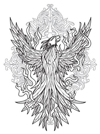 Tattoo bird fly hand drawing and sketch with line art illustration isolated on white background.
