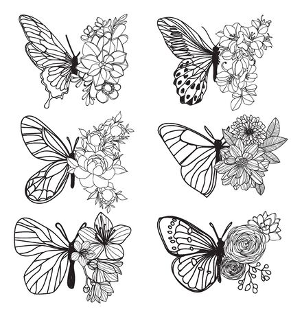 Tattoo art butterfly hand drawing and sketch with line art illustration isolated on white background. Vettoriali