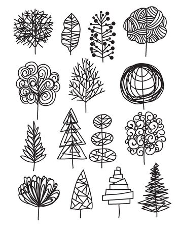 Art of tree vector from free hand drawing design on white background, outline tree illustration