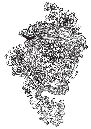 Tattoo art dragon and flower hand drawing and sketch with line art illustration isolated on white background. Vector Illustration