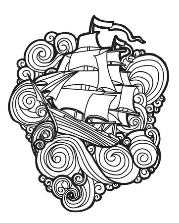 Tattoo art Boat in the waves with line art illustration isolated on white background.
