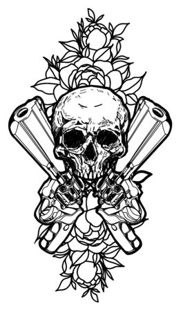 Tattoo art guns and skull hand drawing and sketch black and white with line art illustration isolated on white background.