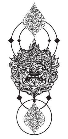 Tattoo art giant hand drawing and sketch black and white with Vektoros illusztráció