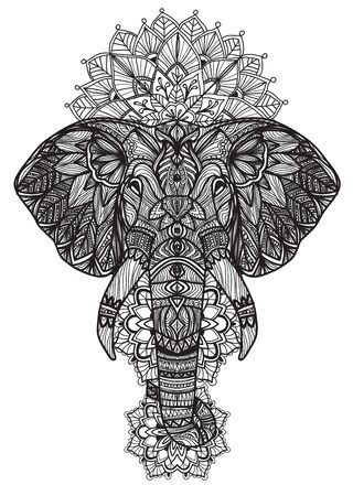Tattoo art elephant thai hand drawing and sketch black and white