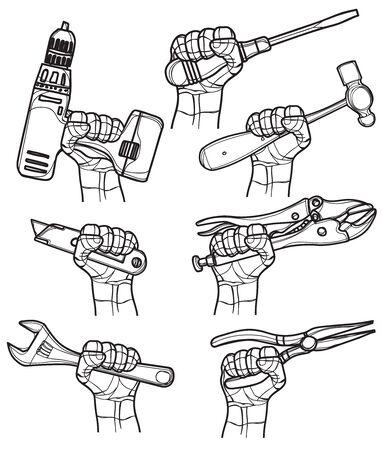 craftsman tool hand drawing and sketch black and white Ilustração