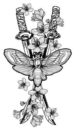 Mariposa de arte del tatuaje sobre fondo de flor de espada japonesa