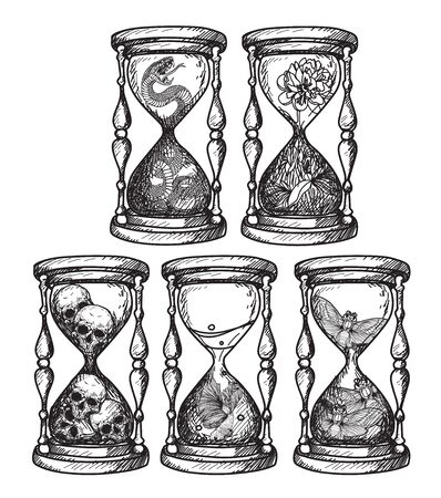 Tattoo art hourglass that contains various things hand drawing 矢量图像