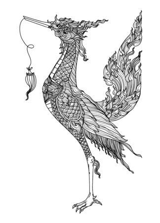 Tattoo art thai bird pattern literature hand drawing sketch