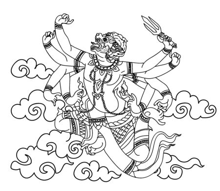 Tattoo art thai monkey pattern literature hand drawing sketch