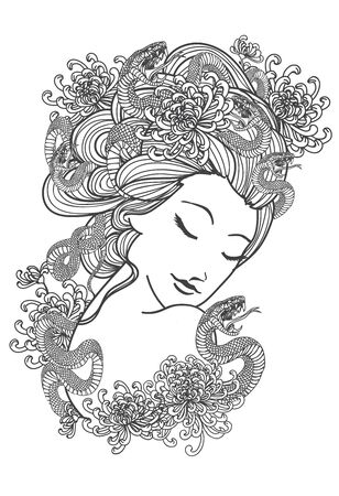 Tattoo art women and snake flower hand drawing and sketch black and white