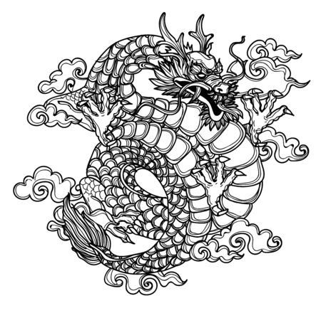 Tattoo art dragon hand drawing and sketch black and white