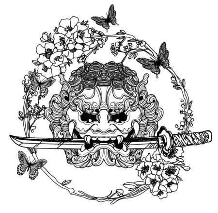 Tattoo art giant sword with flowers around hand drawing and sketch