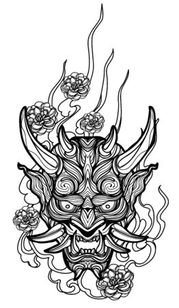 Tattoo art giant hand drawing and sketch black and white Illustration