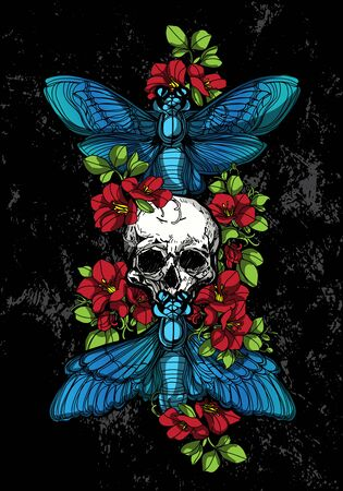 Tattoo art butterfly skull and flower color