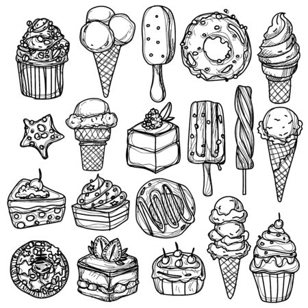ice-cream hand drawing and sketch black and white Ilustracje wektorowe