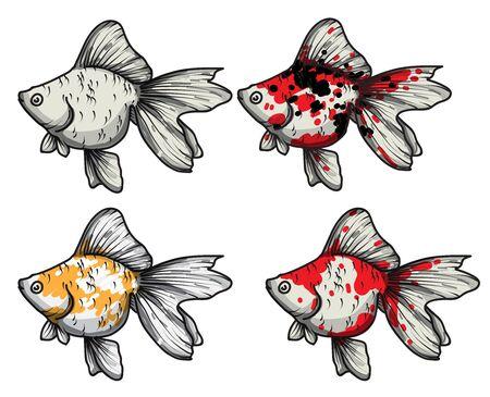 Dessin à la main de poisson rouge set vector illustration isolé sur fond blanc