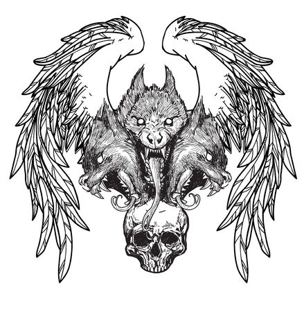 tattoo skull and wings hand drawing Banque d'images - 129402000