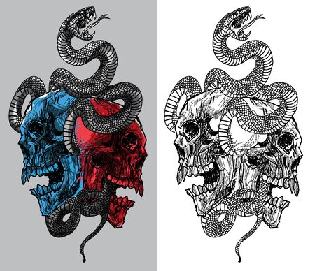 tattoo snake and skull hand drawing Banque d'images - 129402005