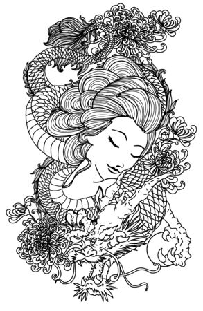 Tattoo women and dragon hand drawing sketch black and white Illustration
