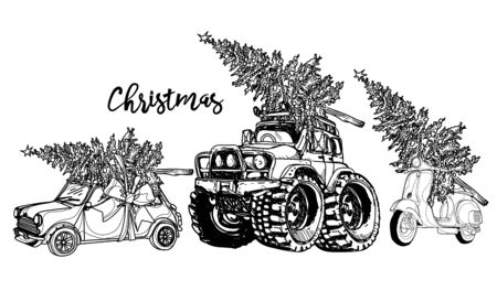 Christmas csr vintage sketch with a Christmas tree on a white background Banque d'images - 137748317