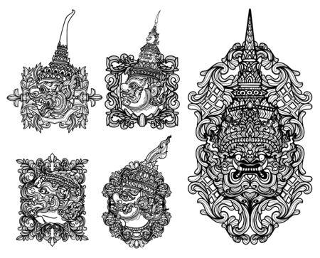 Arte del tatuaje gigante set dibujo a mano y boceto en blanco y negro