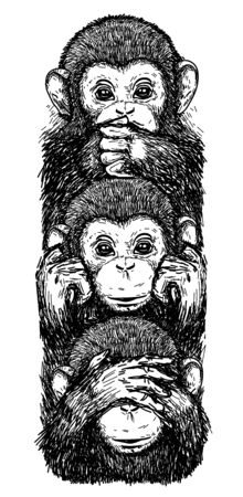 Tattoo art sketch monkeys, ears closed, eyes closed, closed mouth black and white Stok Fotoğraf - 137748520