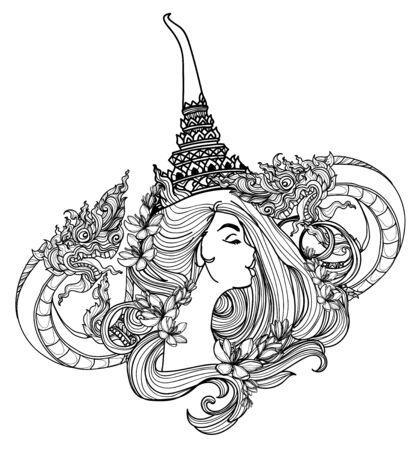 Tattoo art women thai Snake pattern literature hand drawing sketch Vektoros illusztráció