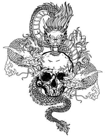 Tattoo art dargon hand drawing black and white