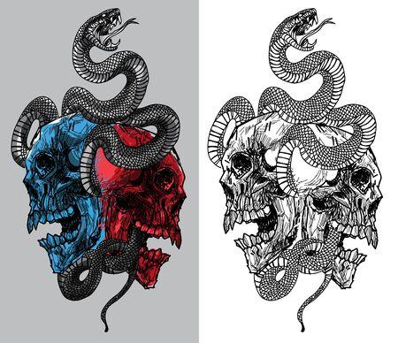 tatuaggio serpente e teschio disegno a mano