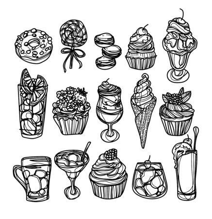 bakery coffee and juice set hand drawing and sketch