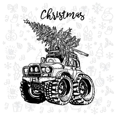 Christmas car vintage sketch with a christmas tree Banque d'images - 137648242