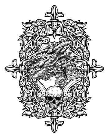 Tattoo art dragon hand sketch black and white on white background.