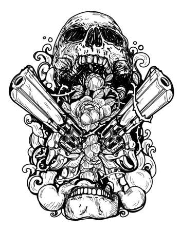 Tattoo art skull inside gun and flowers on white background.