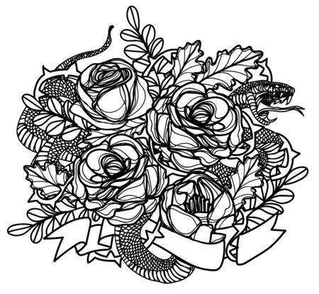 Tattoo art snak and flower drawing and sketch black and white