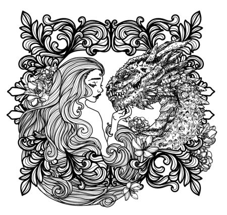 Tattoo women and dragon hand drawing sketch black and white Illusztráció