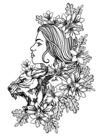 Tattoo women and tigers hand drawing sketch black and white Illusztráció