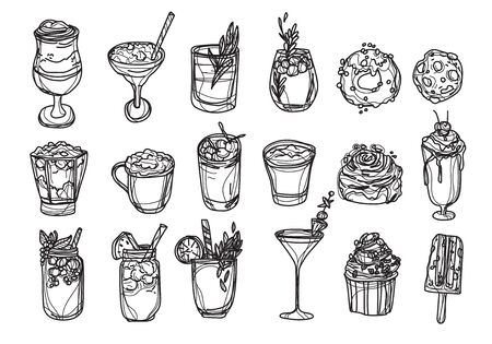 bakery coffee and juice set hand drawing and sketch black and white