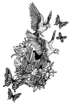 Nature hand drawing flowers  birds and butterfly sketch black and white isolated on white background.