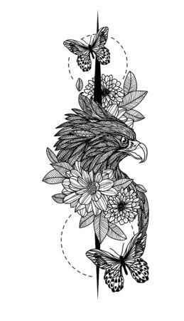 Tattoo art eagle hand drawing
