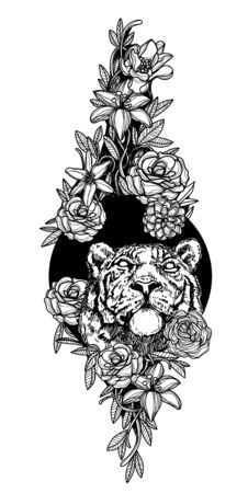 Tattoo art lion in flower hand drawing black and white Illusztráció