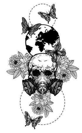 Tattoo art skull flowers hand drawing black and white