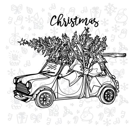 Christmas car vintage sketch with a Christmas tree on a white background