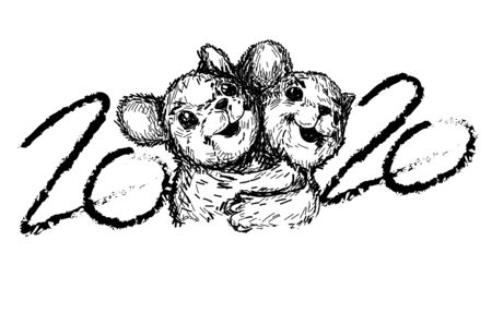 Happy New Year 2020 rat hug drawing and sketch black and white