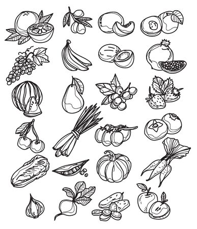 Ensemble de divers croquis de légumes dessinés à la main isolés sur blanc
