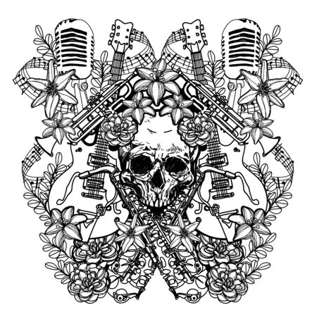 Tattoo art music and skull hand drawing black and white